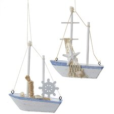 2 Piece Sailboat Ornament Set (Set of 2)