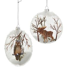 2 Piece Moose and Owl Glass Ball Ornament Set