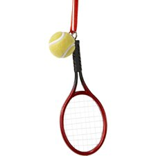 Plastic Tennis Racket Ornament with Tennis Ball