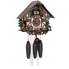 "12.5"" Chalet 8-Day Movement Cuckoo Clock with Beer Drinker"