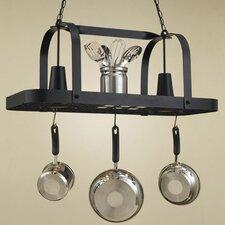 Baker Rectangular Hanging Pot Rack with 2 Lights