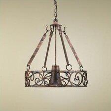 Authentic Iron Circular Hanging Pot Rack with Light