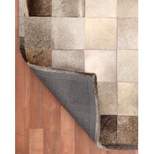 Cowhide Patchwork Polo Grey Area Rug