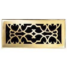 "4"" x 10"" Solid Cast Brass Floor Register Trim in Polished Brass"