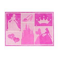 Princess Castle Patchwork Pink Area Rug