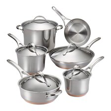 Nouvelle Copper Stainless Steel 11 Piece Cookware Set