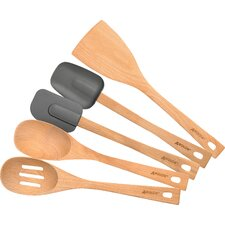 5 Piece Beachwood Utensil Set