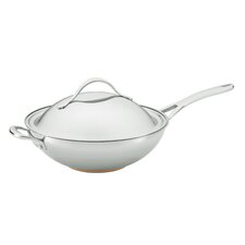 Nouvelle Copper Stainless Steel Covered Stir Frying Pan with Helper Handle