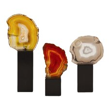 3 Piece Fergie Agate Slice Sculpture Set