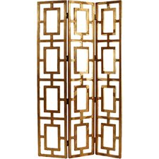 "80"" x 48"" Guilded Open-Work 3 Panel Room Divider"