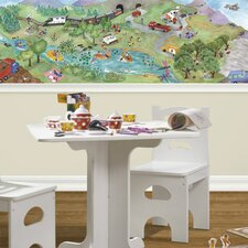 "Watercolor Journey Mural 15' x 12"" Scenic Border Wallpaper"