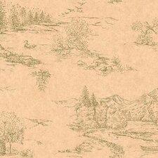 """Lodge Décor Rustic 33' x 20.5"""" Scenic Wallpaper"""
