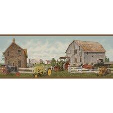 """Lodge Décor Tractor and Barn 15' x 9"""" Scenic Border Wallpaper"""