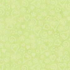 "Whimisical Tonal Hearts 20.5' x 33""  Wallpaper"