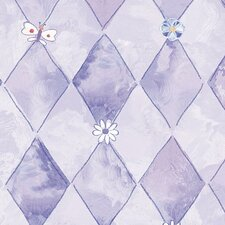 "Whimsical Children's Vol. 1 20.5' x 33"" Groovy Argyle Floral & Botanical Wallpaper"