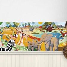 """3D Safari Mural 16.5' x 18"""" Wildlife Border Wallpaper"""
