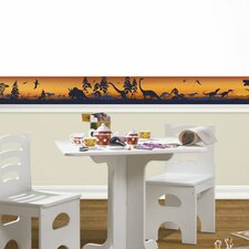 "Dinosaur Silhouettes Mural 12' x 6"" Wildlife Border Wallpaper"