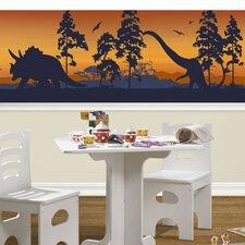 "Dinosaur Silhouettes Mural 18' x 18"" Wildlife Border Wallpaper"