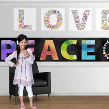 "Peace and Love 18' x 18"" Border Wallpaper"