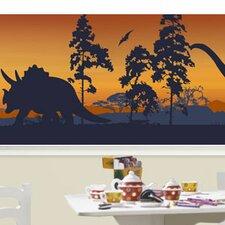 "Silhouettes Mural 18' x 18"" Dinosaur Border Wallpaper"