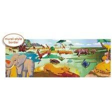 """Panoramic Mural Style Safari 11' x 12"""" Wildlife Border Wallpaper"""