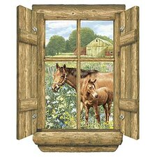 Unique Peel and Stick Log Window Horse Wall Mural