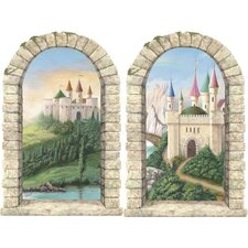 Enchanted Kingdom Pre-Pasted Castle Windows Wall Mural (Set of 2)