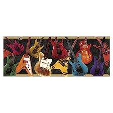 "Whimisical Guitar 15' x 9"" Border Wallpaper"