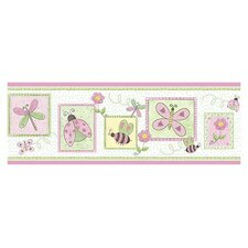 "Whimisical Springtime 15' x 9"" Floral and Botanical Border Wallpaper"