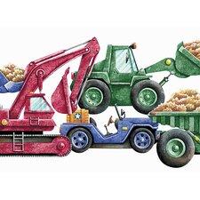 "Whimsical Children's Vol. 1 Construction Truck Die-Cut 15' x 9"" Border Wallpaper"