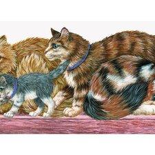 """Whimsical Children's Vol. 1 15' x 8.75"""" Cat  Border Wallpaper"""