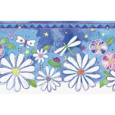 "Whimsical Children's Vol. 1 Groovy 15' x 8.25"" Floral Border Wallpaper"