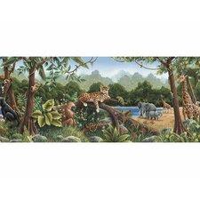 """Rainforest Mural 15' x 12"""" Wildlife Border Wallpaper"""
