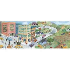 "Watercolor Journey Mural 12' x 6"" Scenic Border Wallpaper"