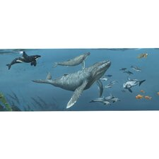 "Deep Sea Whales Mural 12' x 12"" Wildlife Border Wallpaper"