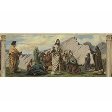"Life of Jesus Mural 18' x 18"" Figural Border Wallpaper"