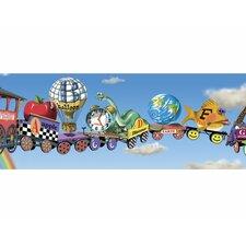"Alphabet Train Mural Style 18' x 18"" Scenic Border Wallpaper"