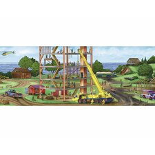 "Construction Panorama Mural 18' x 18"" Scenic Border Wallpaper"