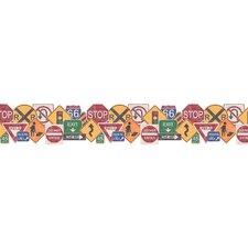 "Whimsical Children's Vol. 1 Road Sign 15' x 9"" Border Wallpaper"