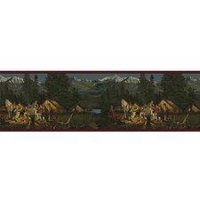 """Lodge Décor Campfire 15' x 9"""" Scenic Border Wallpaper"""