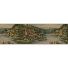 "Lodge Décor 15' x 8.75"" Cabin Scenic Border Wallpaper"