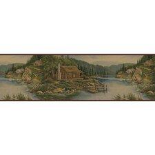 """Lodge Décor Cabin 15' x 8.75"""" Scenic Border Wallpaper"""