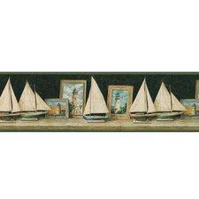 """Lodge Décor Pond Boat 15' x 9.5"""" Scenic Border Wallpaper"""