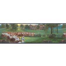 "Lodge Décor Vintage Golf 15' x 9"" Scenic Border Wallpaper"