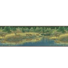 """Lodge Décor 15' x 8"""" Deer Valley Scenic Border Wallpaper"""