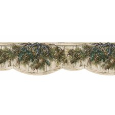 "Lodge Décor Pinecone Swag Die-Cut 15' x 9.5"" Botanical Border Wallpaper"