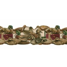 """Lodge Décor The Decoys Asted Die-Cut 15' x 9"""" Wildlife Border Wallpaper"""
