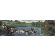 """Lodge Décor The Cattle Drive 15' x 8.5"""" Scenic Border Wallpaper"""