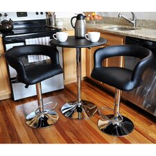 AmeriHome Modern Curvey 3 Piece Pub Table Set