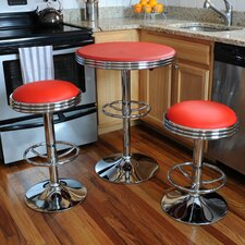 AmeriHome Retro Sode Shop 3 Piece Pub Table Set
